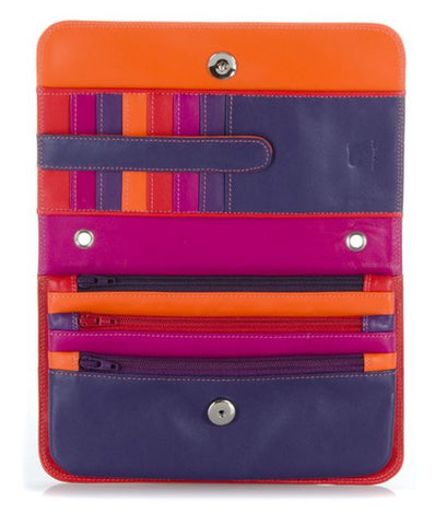 Credit card slots and zip pockets alternate colors (red, hot pink, purple, orange)