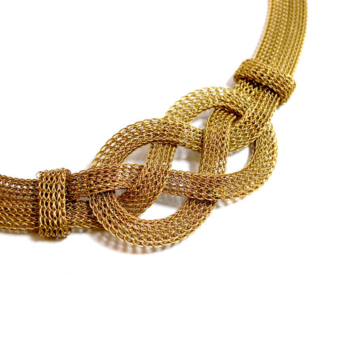 Brass Wire Knit Flat-Knot Necklace - The New York Public Library Shop