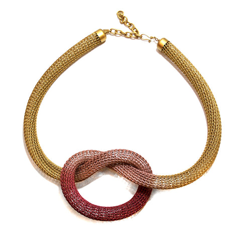 Tinted Wire Knit Tube Necklace