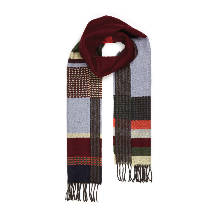 Lambswool Glebe Scarf: Red