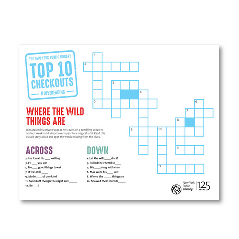 Printable Kids Crossword: Where the Wild Things Are
