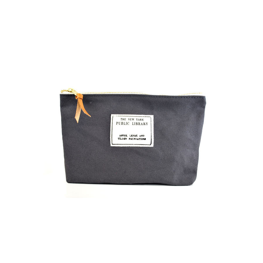 Grey Vintage NYPL Stamp Pouch - The New York Public Library Shop