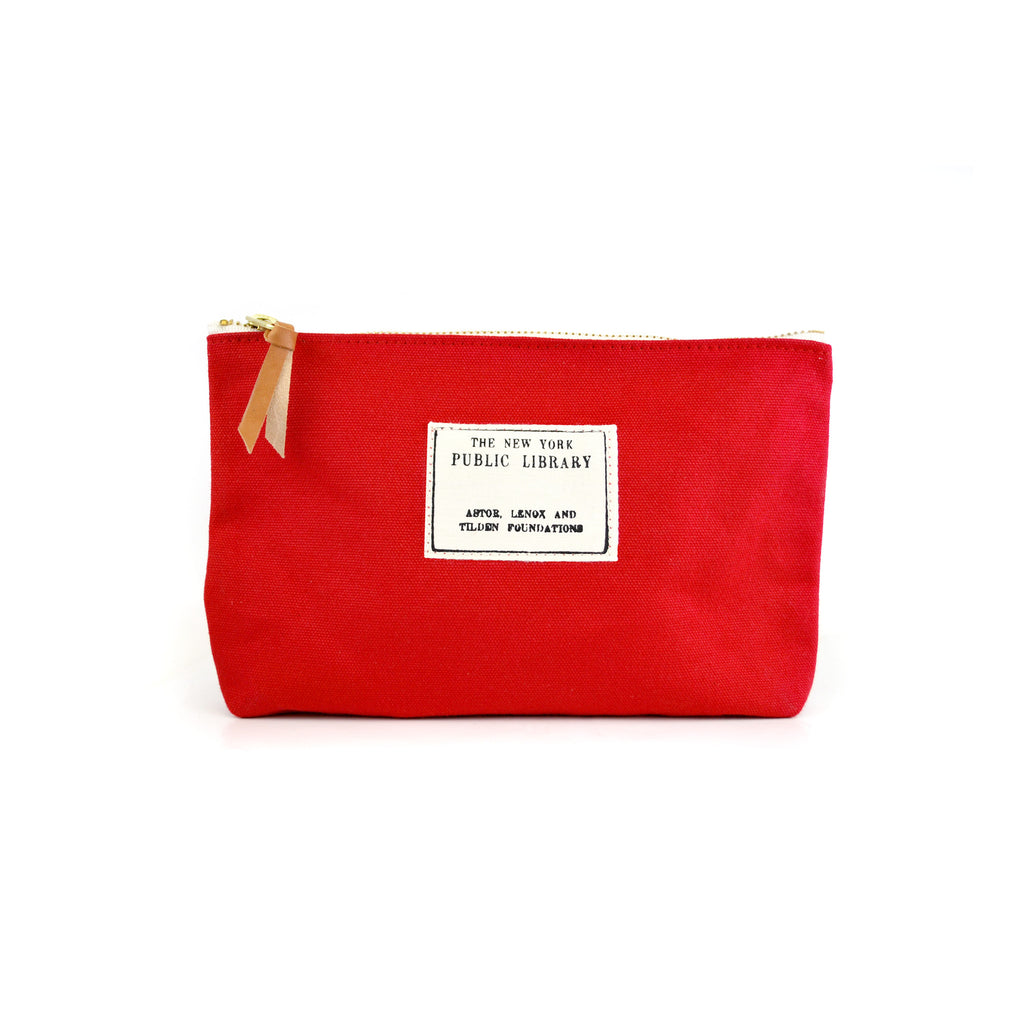 Stamp on red background pouch.