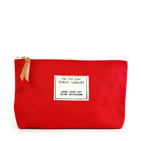 Red Vintage NYPL Stamp Pouch