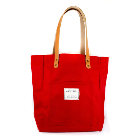 Red Vintage NYPL Stamp Tote Bag