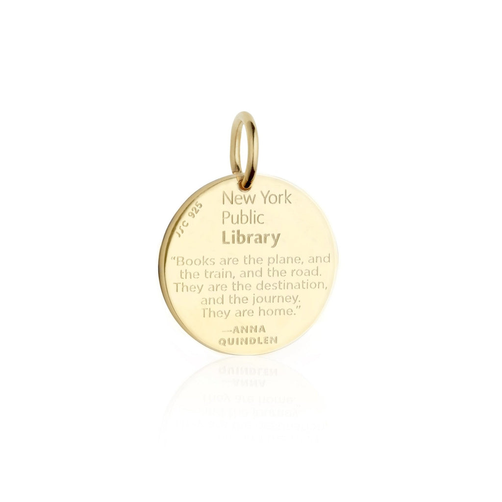 Gold NYPL Lion Charm With Black Enamel