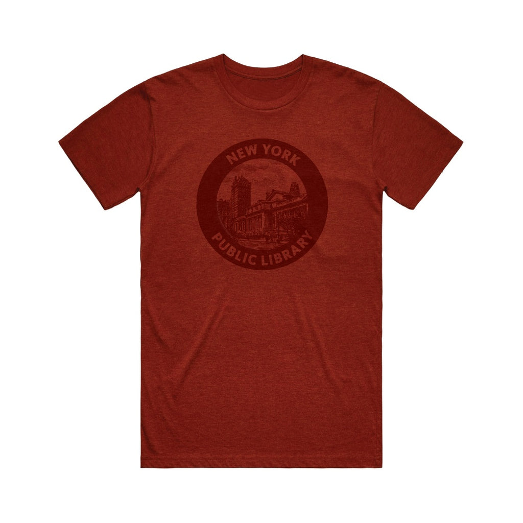 Red-brick color Unisex t-shirt with a NYPL vintage logo with an illustration of the NYPL Schwarzman building.