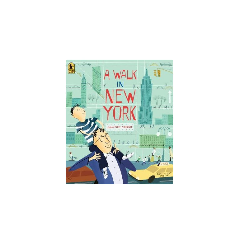 Cover features a man carrying a kid on his shoulder while walking on a NYC street. Background is green, showing the nyc skyline.