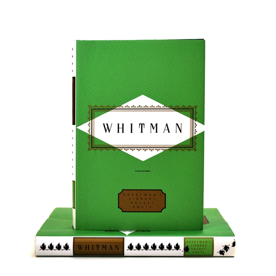 "All green cover book with text ""Whitman"" in the center of it."
