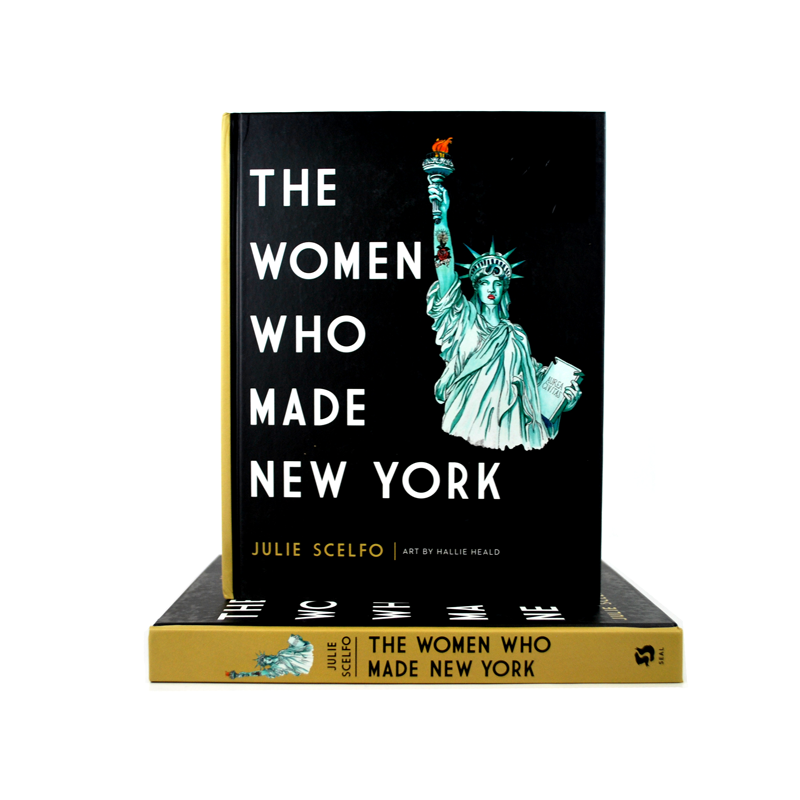 Cover features an illustration of the Statue of Liberty on a black background. Title is in white letters next to the illustration. The book spine is in mustard.
