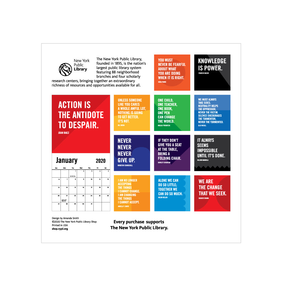 Suny Purchase Calendar 2020 2020 Activist Quote Calendar – The New York Public Library Shop