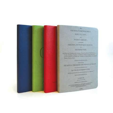 Other notebooks come in navy blue, red and gray with other titles on them.