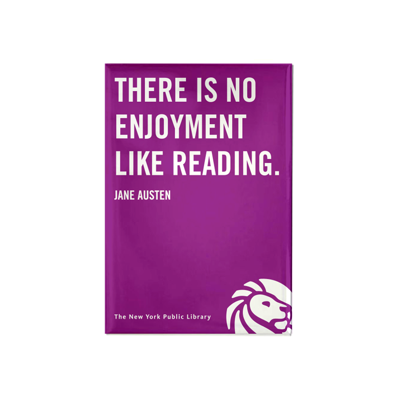 "Quote on purple background magnet. Library logo at the bottom right corner. Small text at the bottom reads ""The New York Public Library"""