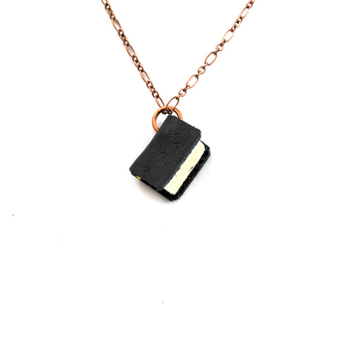 Black Leather Book Necklaces