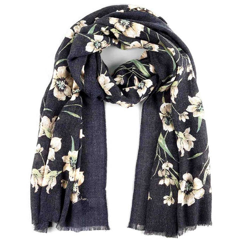 Flora Scarf: Black - The New York Public Library Shop