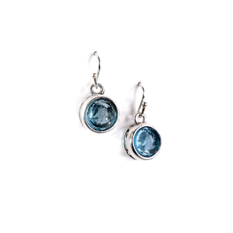 Round Sapphire Intaglio Earrings