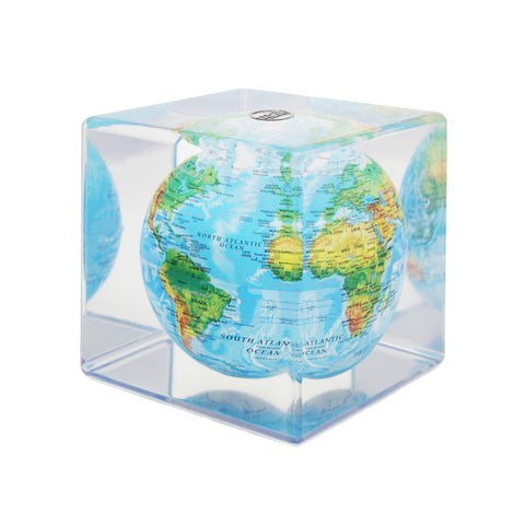 Mova Rotating Blue Relief Cube Globe