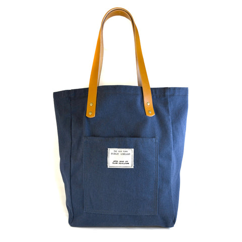 Navy Vintage NYPL Stamp Tote Bag