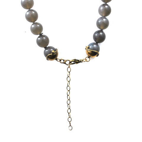 Hand Carved Bone Necklace With Agate Beads - The New York Public Library Shop
