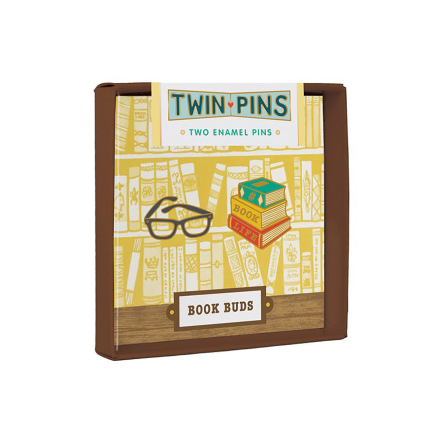 book buds twin pins two enamel pins