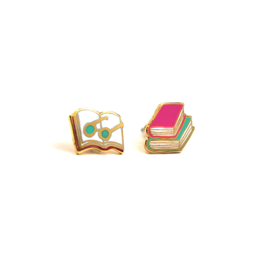 Enamel Book Stack Earrings - The New York Public Library Shop