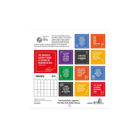 2019 Bookish Quote  Calendar - The New York Public Library Shop