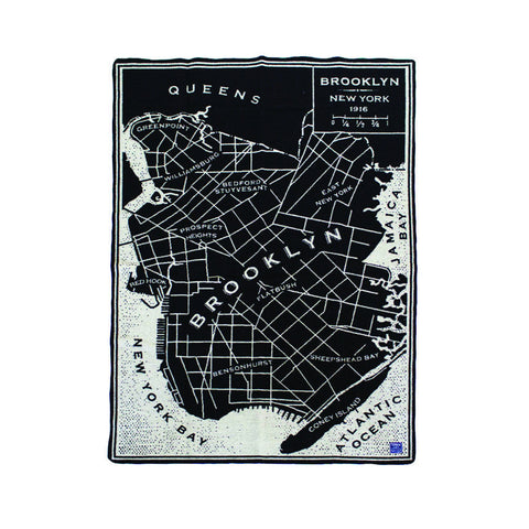Brooklyn New York Vintage Map Wool Throw - The New York Public Library Shop