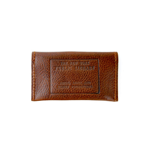 Brown Leather NYPL Stamp Card Case - The New York Public Library Shop