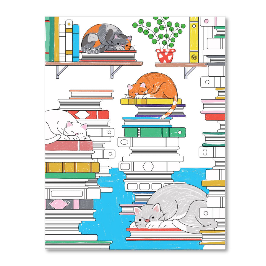 Printable Coloring Page : Cats in the Stacks - The New York Public Library Shop