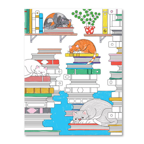 Printable Coloring Page : Cats in the Stacks