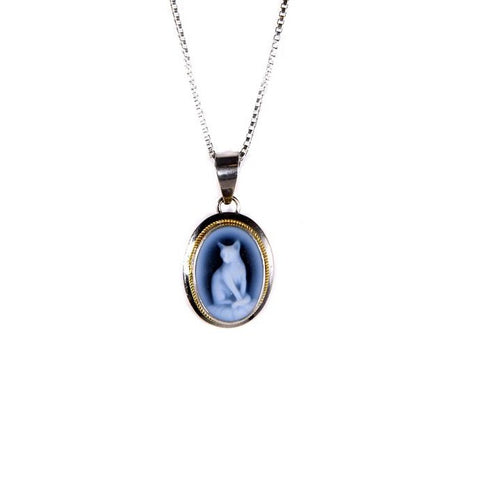 Siamese Cat Blue Agate Cameo Necklace