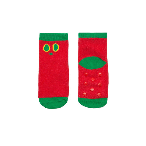 Cuff, short-row heel and toes are green. Rest of the socks are red. There are the caterpillar eyes on the leg area.