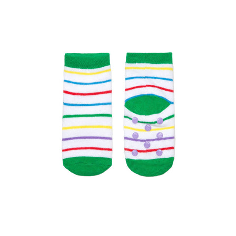 Cuff, short-row heel and toes are green. The rest of the socks have a white background with lines in different colors (yellow, blue, red, purple)