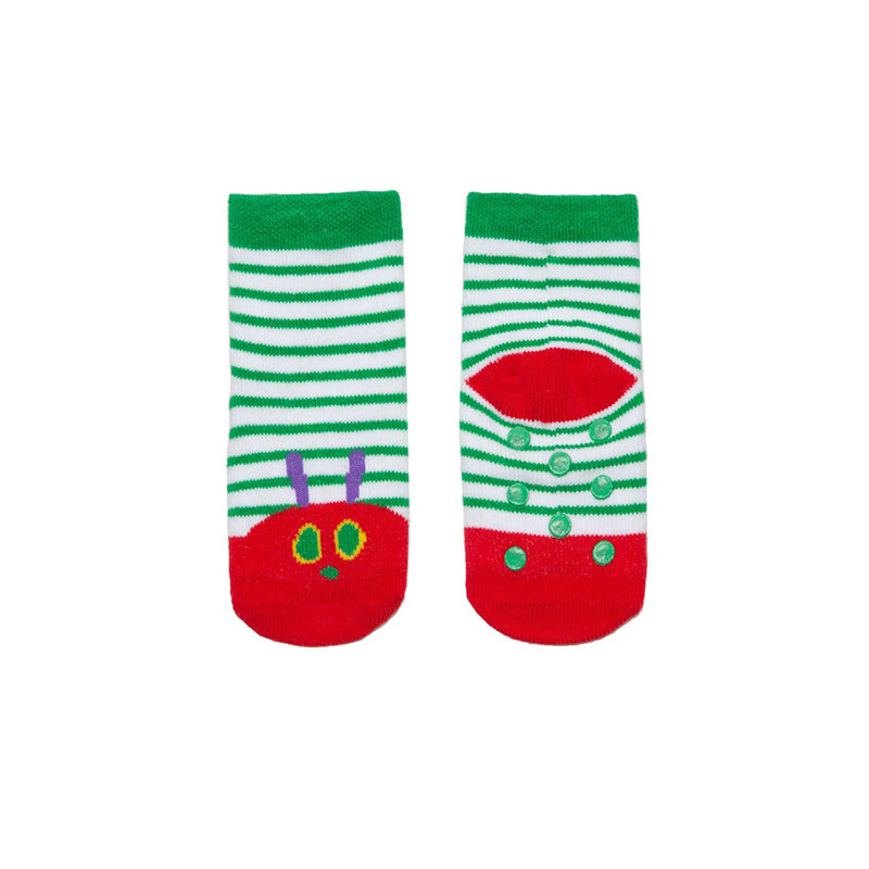 Green and white stripes with the caterpillar face in the toes area in red
