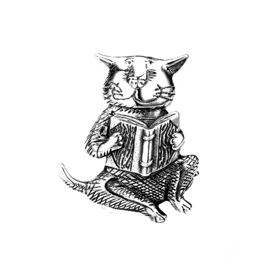 Cat Reading a Book: Edward Gorey Brooch