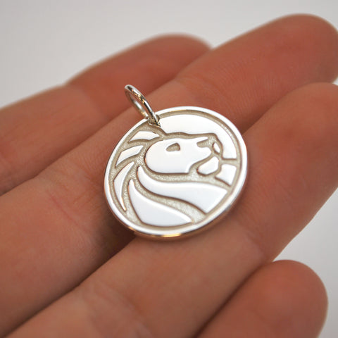 Silver NYPL Lion Charm Necklace