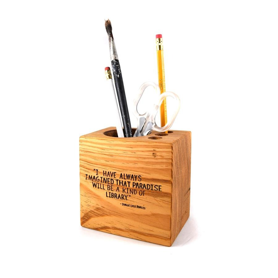 NYPL Borges Quote Desk Caddy