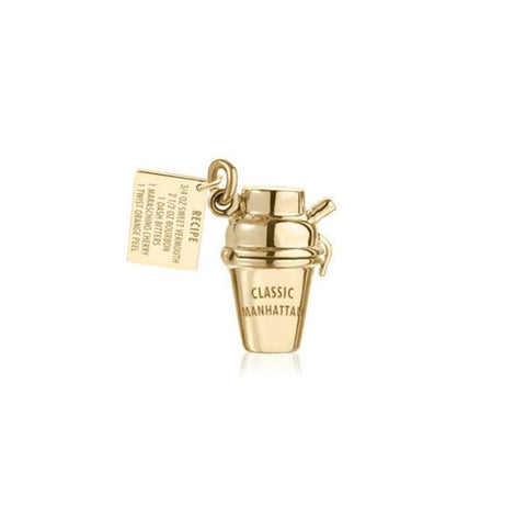 Gold Manhattan Cocktail Shaker Charm