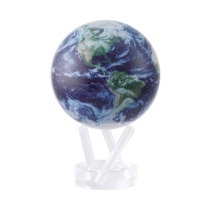 Earth as seen from outer space, captured through NASA satellite imagery. Globes includes 3-pronged supports acrylic base.