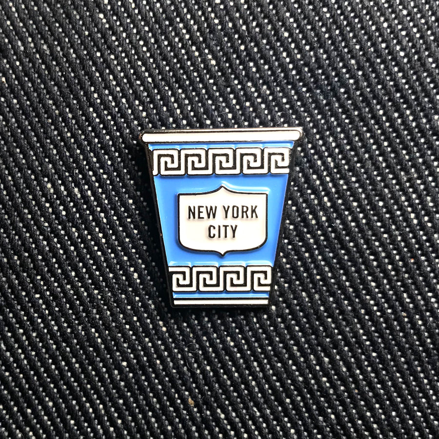 NYPL Greek Coffee Cup Enamel Pin - The New York Public Library Shop