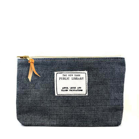 Dark Denim Vintage NYPL Stamp Pouch - The New York Public Library Shop