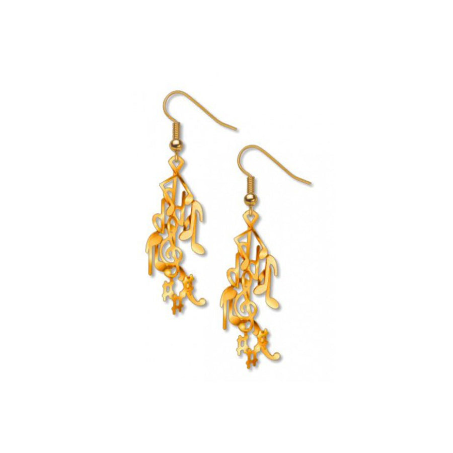 Musical Notes Gold Earrings