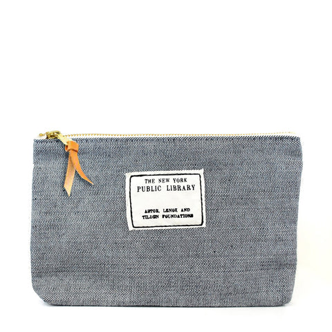 Denim Vintage NYPL Stamp Pouch