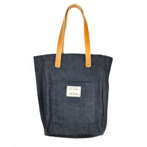 Dark Denim Vintage NYPL Stamp Tote Bag
