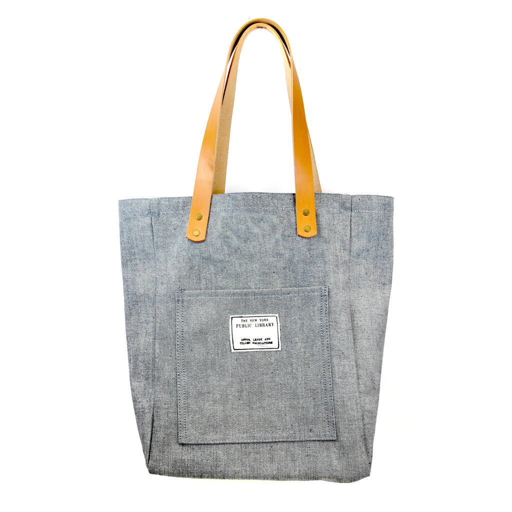 Light Denim Vintage NYPL Stamp Tote Bag - The New York Public Library Shop