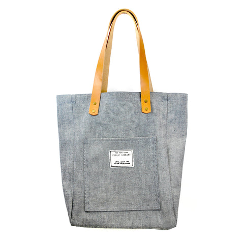 Light Denim Vintage NYPL Stamp Tote Bag