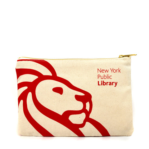 "Red library lion outline on cream colored background with text ""New York Public Library"" in the right corner."