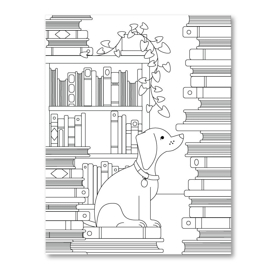 Printable Coloring Page : Dogs and Books - The New York Public Library Shop