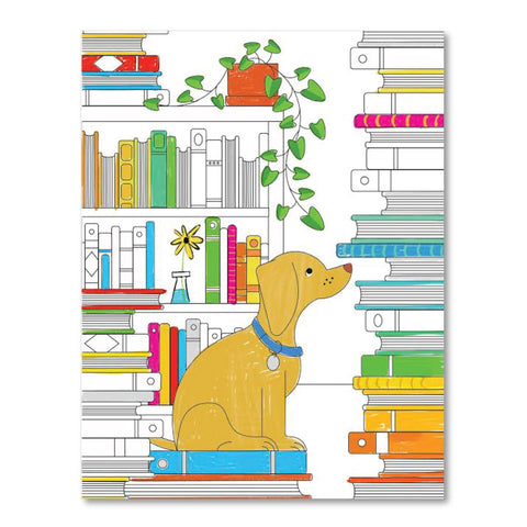 Printable Coloring Page : Dogs and Books