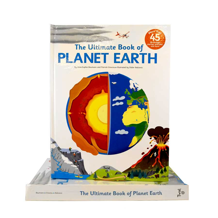 Cover features an illustration of planet earth where one half shows the core and its layers and the other half the surface of the planet. At the bottom you can see illustrations of a volcano, mountains and bodies of water. Title is on the top.